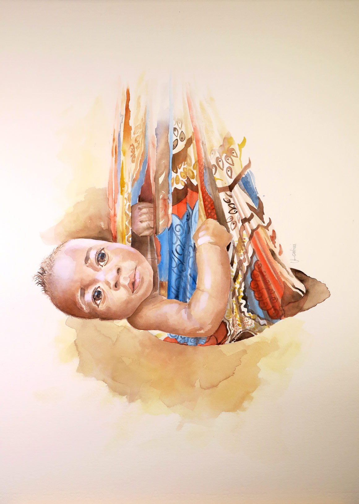 002 Vito Lentini Designer Acquarelli For_Aleimar_Baby in the scarf_Wat_56x76