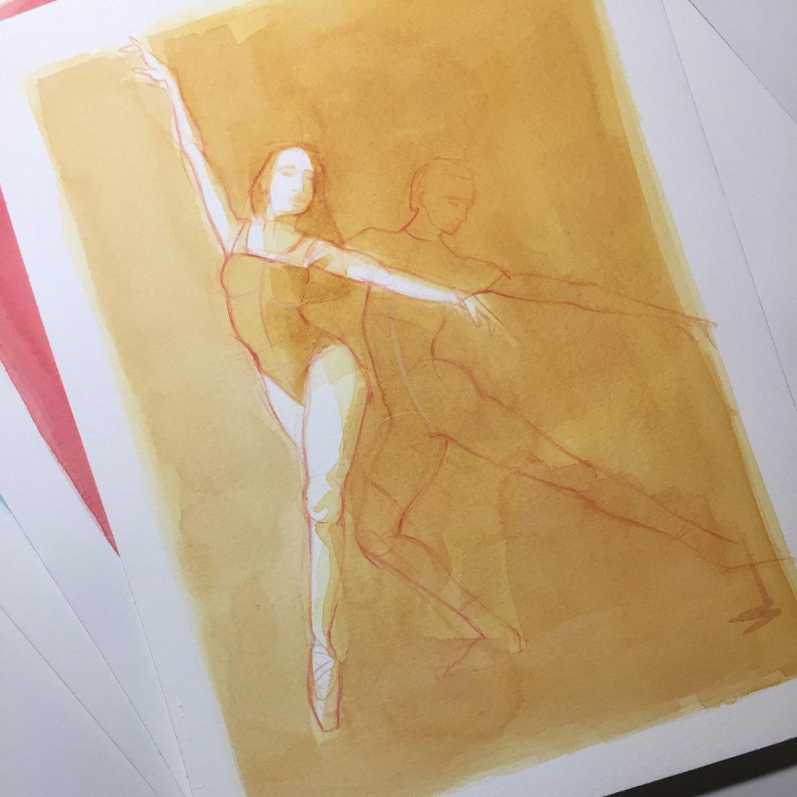003 Dancers Vito Lentini Designer Acquarelli Sketches