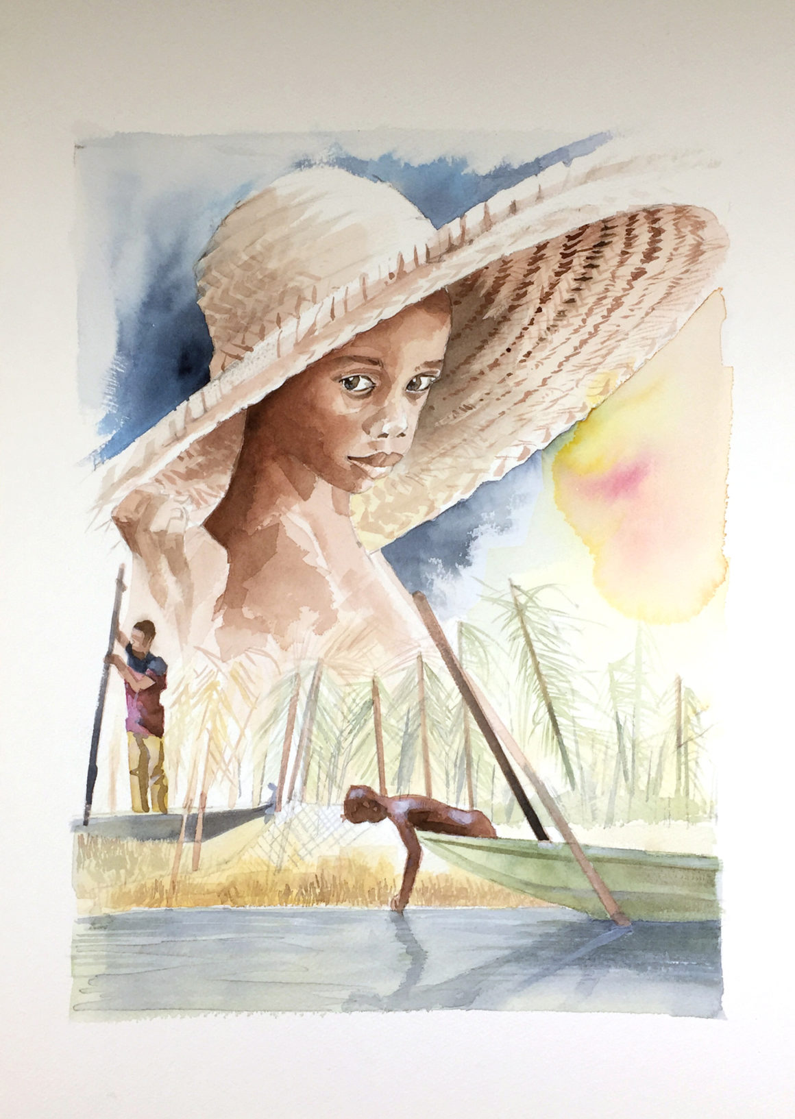 005 Vito Lentini Designer Acquarelli Children and fishermen_35x50